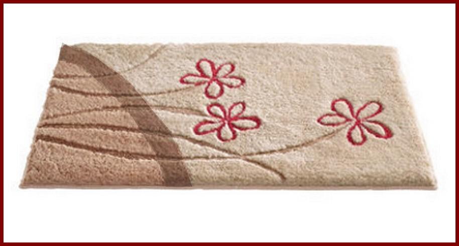 badematte mit blume beige braun rot bad teppich duschmatte neu ebay. Black Bedroom Furniture Sets. Home Design Ideas